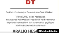 Seçkilərin Monitorinqi və Demokratiyanın Tədrisi Mərkəzinin aralıq hesabatı