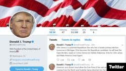 A screenshot from US President Donald Trump's Twitter account, @realdonaldtrump.