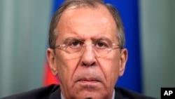 ລັດຖະມົນຕີ ຕ່າງປະເທດ ຣັດເຊຍ ທ່ານ Sergey Lavrov ເຂົ້າ ຮວມປະຊຸມທີ່ ນະຄອນມົສກູ ໃນເດືອນມີນາ.