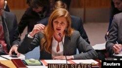 美国驻联合国大使鲍尔3月3日在纽约联合国总部召开的安理会有关乌克兰危机的紧急会议上