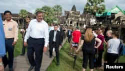 Cambodia's Siem Reap-Angkor region is very popular with international tourists and dignitaries. Seen here, U.S. Secretary of Defense Leon Panetta (2nd L) walks during his visit to the Angkor Wat in Siem Reap November 16, 2012, after attending the ASEAN Defense Ministers Meeting Retreat.