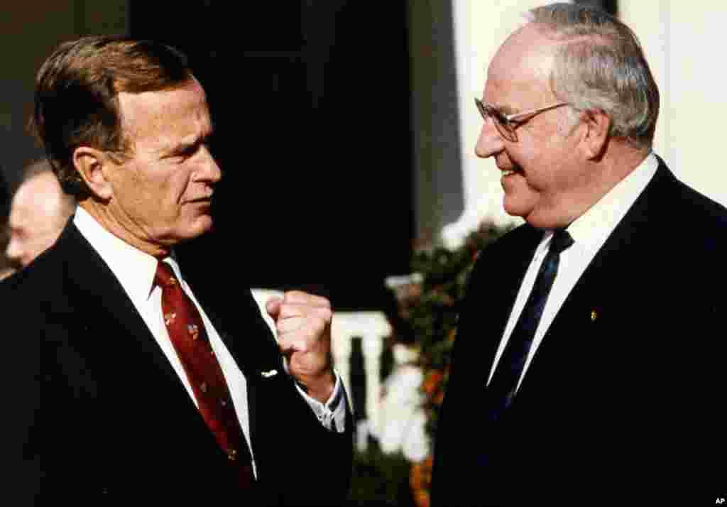 15 ноября 1988, Гельмут Коль с новоизбранным президентом США Джорджем Бушем-старшим