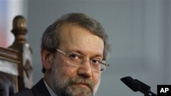 Iranian Parliament Speaker, Ali Larijani, during a press conference, in Tehran (File Photo).