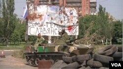 在東烏克蘭 分離主義分子非常活躍。