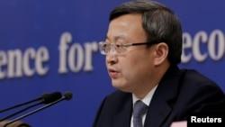 中国商务部副部长兼国际贸易谈判副代表王受文2019年3月9日在全国两会记者会上讲话。