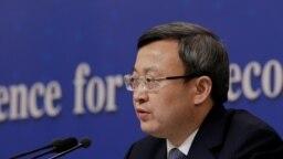 Phó Bộ trưởng Thương mại Trung Quốc Vương Thụ Văn tham dự cuộc họp báo bên lề đại hội đại biểu nhân dân toàn quốc ở Bắc Kinh, Trung Quốc, ngày 9 tháng 3, 2019.