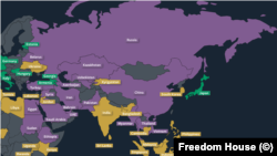Freedom House Freedom of the NET map