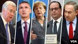 از راست نتانیاهو، اولاند، مرکل، ینس استولتنبرگ و مایکل فالون