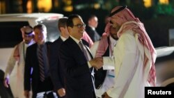 U.S. Treasury Secretary Steven Mnuchin arrives for a welcome dinner at Saudi Arabia Murabba Palace, during the G20 meeting of finance ministers and central bank governors in Riyadh, Saudi Arabia February 22, 2020.