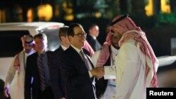 美國財政部長姆努欽24日抵達在沙特阿拉伯首都利雅得召開20國集團財長會議。
