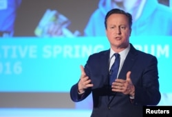 Britain's Prime Minister, David Cameron, addresses the Conservative Spring Forum in central London, April 9, 2016.