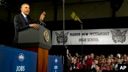 President Barack Obama speaks at Manor New Technology High School in Manor, Texas, May 9, 2013.