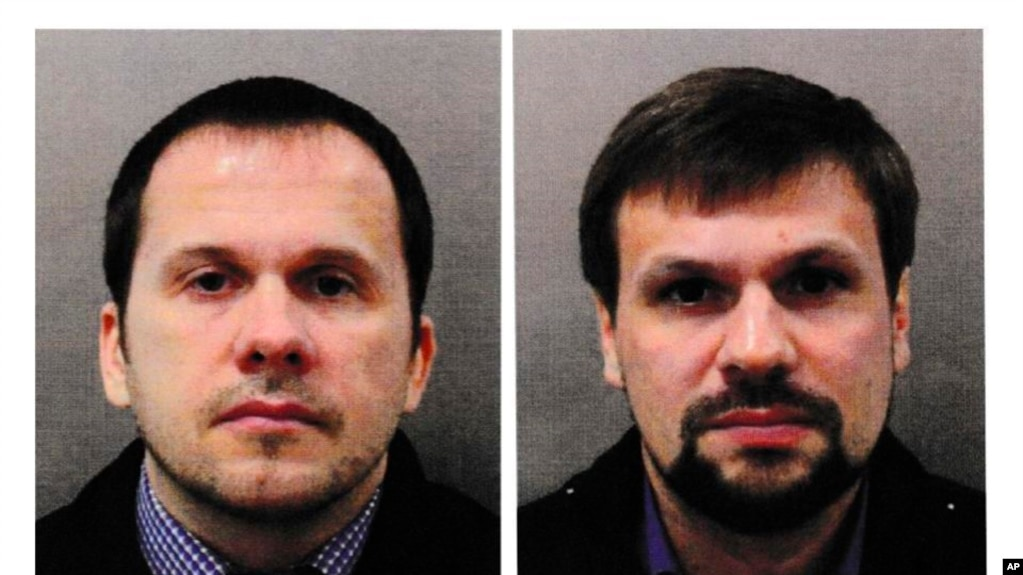 Anh tuần này cáo buộc hai nghi phạm người Nga, Alexander Petrov (trái) và Ruslan Boshirov, âm mưu sát hại cựu điệp viên người Nga Sergei Skripal và con gái Yulia trong một vụ tấn công bằng chất độc hóa học ở thành phố Salisbury hồi tháng 3.