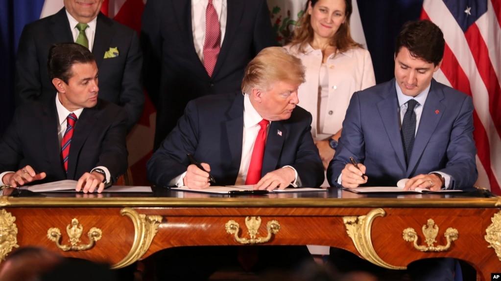 Các nhà lãnh đạo Mexico, Hoa Kỳ, và Canada ký Hiệp định USMCA hôm 30/11/2018.