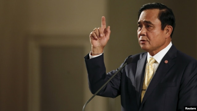 FILE - Thailand's Prime Minister Prayuth Chan-ocha addresses the nation and summarises the junta government's annual report in Bangkok, Thailand.