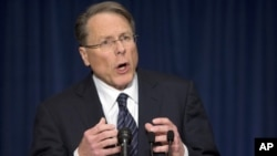 The National Rifle Association executive vice president Wayne LaPierre, gestures during a news conference in response to the Connecticut school shooting, Washington, December 21, 2012.