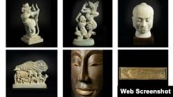 រូបចម្លាក់ខ្មែរធ្វើពីថ្មនិងឈើ (រូបពីគេហទំព័រ Khmer Art Gallery)
