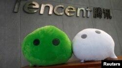中国广州腾讯办公楼前的社交即时通讯软件微信的吉祥物。(2017年5月9日)