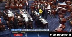 27일 미 상원이 러시아와 이란, 북한에 대한 추가 제재 통합법안을 찬성 98표, 반대 2표로 가결했다. (C-SPAN 현장중계 화면).