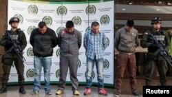지난달 콜롬비아 수도 보고타에서 미국의 마약단속요원을 살해한 혐의로 체포된 마약 조직 단원들.