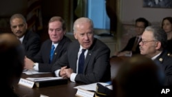 Vice President Joe Biden (center) with members of gun violence task force meet at White House Dec. 20, 2012