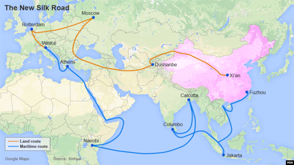 US Vision For New Silk Road - Us new silk road map