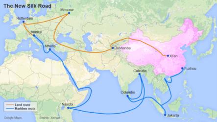 Con đường Tơ lụa trên biển được thiết kế để đi từ bờ biển của Trung Quốc đến châu Âu qua Biển Đông và Ấn Độ Dương.