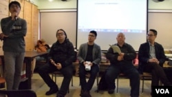 香港獨立媒體舉辦「上街隨時被暴動﹖」論壇。(美國之音湯惠芸攝)