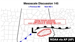 This image from NOAA shows a portion of a tornado warning for Alabama issued at 1 p.m. CST on Sunday, March 3, 2019 before a tornado hit later in the day.