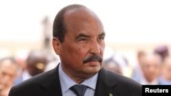 Le président mauritanien Mohamed Ould Abdel Aziz à l'aéroport de Nouakchott, le 2 juillet 2018.