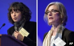 FILE - This Tuesday, Dec. 1, 2015 file combo image shows Emmanuelle Charpentier, left, and Jennifer Doudna, both speaking at the National Academy of Sciences international summit on the safety and ethics of human gene editing, in Washington.