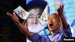 國民黨籍高雄市長候選人韓國瑜慶祝勝選資料照(路透社圖片)