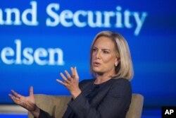 커스텐 닐슨 미 국토안보부 장관이 지난달 9일 워싱턴에서 열린 사이버 보안 회의에 참석했다.