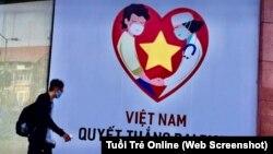 Một áp phích tuyên truyền cuộc chiến chống đại dịch COVID-19 ở Việt Nam. Hình minh họa. (Ảnh chụp màn hình Tuổi Trẻ Online)