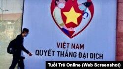 Một áp phích tuyên truyền cuộc chiến chống đại dịch COVID-19 ở Việt Nam. (Ảnh chụp màn hình Tuổi Trẻ Online)