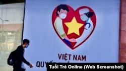 Ảnh tư liệu - Một áp phích tuyên truyền cuộc chiến chống đại dịch COVID-19 ở Việt Nam. (Ảnh chụp màn hình Tuổi Trẻ Online)