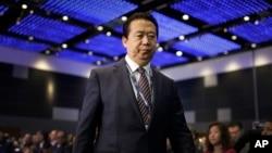 中國公安部副部長出身的國際刑警組織主席孟宏偉走上國際刑警組織世界大會的講台,準備講話(2017年7月4日)
