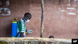 24일 시에라리온 프리타운에서 한 보건관계자가 에볼라 바이러스 퇴치를 위해 소독약을 뿌리고 있다.