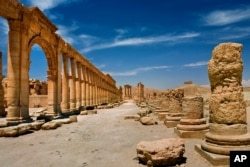 In this undated photo released by the Syrian official news agency SANA, shows the site of the ancient city of Palmyra, Syria.
