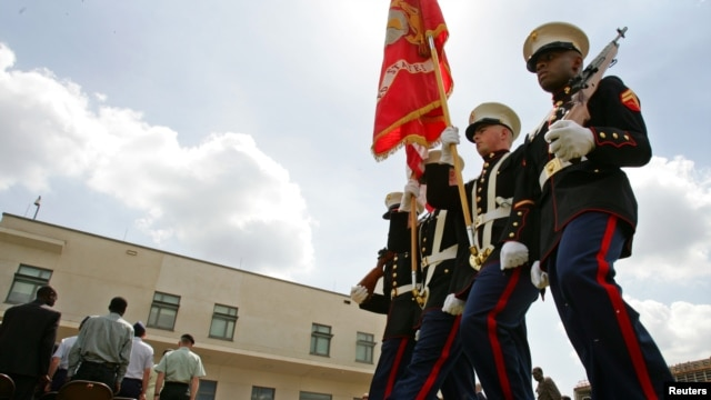 FILE - U.S. Marines on the grounds of the U.S. embassy compound in Nairobi.