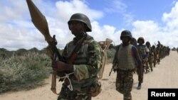 Un groupe d'hommes de la force de l'Union africaine (Amisom) en Somalie.