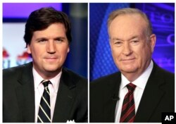 "FILE - In this combination photo, Tucker Carlson, host of ""Tucker Carlson Tonight,"" appears on the set, March 2, 2107, left, and Fox News personality Bill O'Reilly appears on the set of his show, ""The O'Reilly Factor"" on Oct. 1, 2015. Five days after O'Reilly left, Carlson took his time slot."