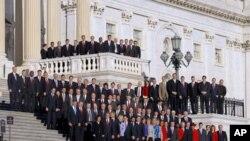 Les nouveaux élus devant le Congrès, à Washington