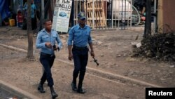 FILE - Police officers patrol along a road in Addis Ababa, Ethiopia February 21, 2018. (Reuters)