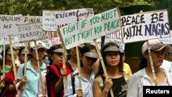 Para aktivis Dewan Sosialis Nasional Nagaland berdemonstrasi di New Delhi. (Foto: Dok)
