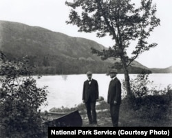 George B. Dorr, left, and Charles W. Eliot began the fight to preserve what became Acadia National Park through the Hancock County Trustees of Public Reservations. They're pictured here along the shores of Jordan Pond.