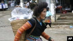 An ethnic Hmong minority woman returns home from a market in Phu Yen district, in Vietnam's northern Son La province, northwest of Hanoi (FILE).