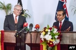 Perdana Menteri Timor Leste Taur Matan Ruak (kanan) dan Perdana Menteri Australia Scott Morrison (kanan) menghadiri konferensi pers bersama di Dili, 30 Agustus 2019. (Foto: AFP)
