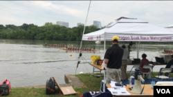 第18届华府龙舟赛2019年5月18日在华盛顿波多马克河举行(美国之音锺辰芳拍摄)