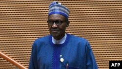 FILE - Nigeria's President Muhammadu Buhari is pictured after speaking at an African Union summit in Addis Ababa, Ethiopia, Jan. 28, 2018.